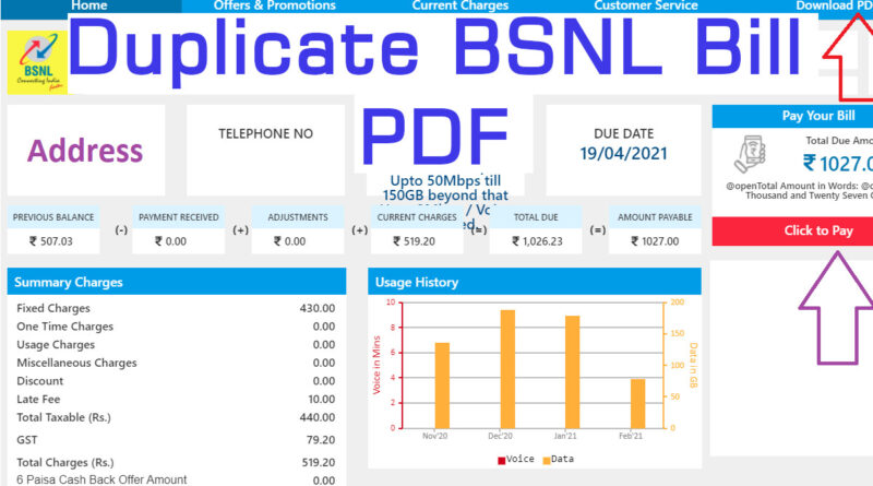 Duplicate BSNL Bill in PDF Sample