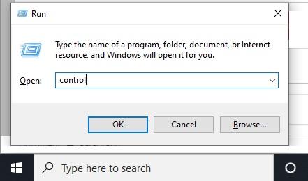 Typing the word CONTROL in Run Dialog Box